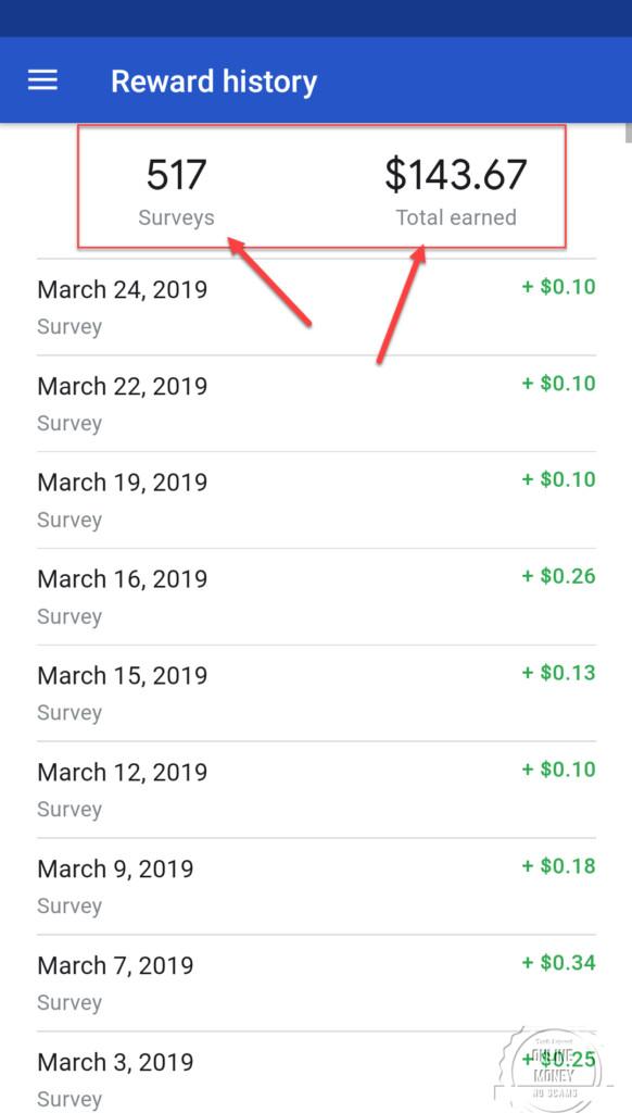 My Lifetime Earning Google Opinion Rewards