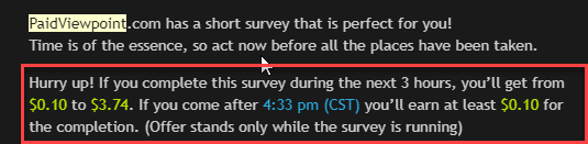 Timed Survey On Paid View Point
