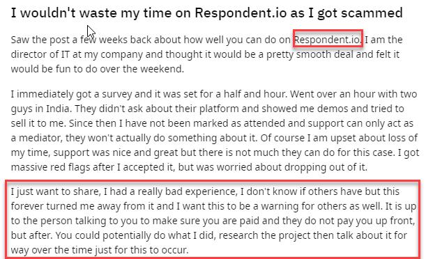 Respondent.io Complaint