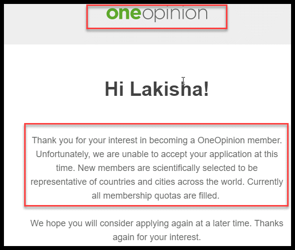 One Opinion Denied Me For An Account