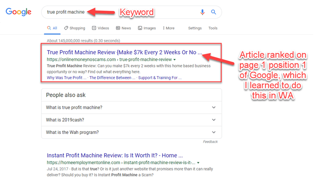 Ranking On Page 1 Of Google For True Profit Machine