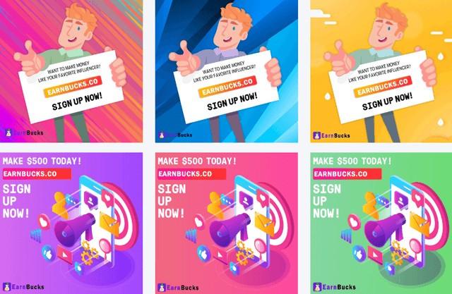 EarnBucks Social Media Promotional Images